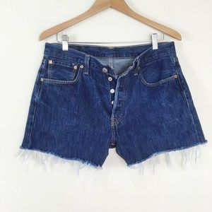 LEVIS 501 Dark Wash Denim Cutoff Shorts Boyfriend